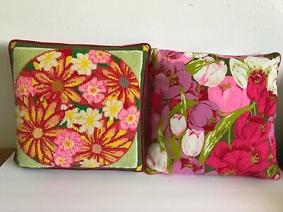 Two Vintage Mid Century 60s 70s Bright Pink Floral Cushions Pillows Needlepoint