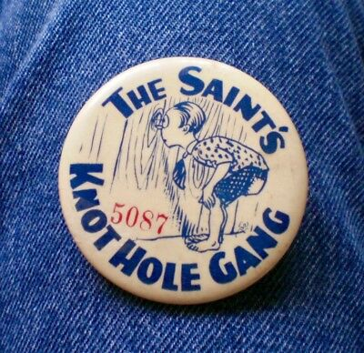"""Scarce 1930's St Paul Saints' Knothole Gang Numbered Pin 2 1/4"""" Cello"""