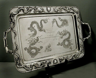 "Chinese Export Silver Tray        SING FAT     ""KWANGTUNG DIST. PRESENTATION"""