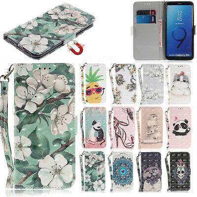 Pattern Flip Leather Wallet Case Stand Cover For Samsung Galaxy S9 S7 J8 A8 2018