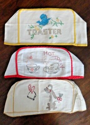 Vintage Cotton Cloth Hand Painted  1960's Toaster Covers - Set of 3