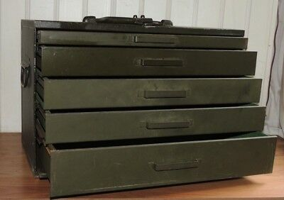 Vintage ASCO ART STEEL CO NY USA machinist cabinet / 5 draws