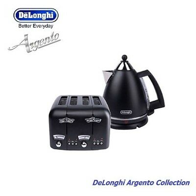 Delonghi Argento Kettle & 4 Slice Toaster in Black