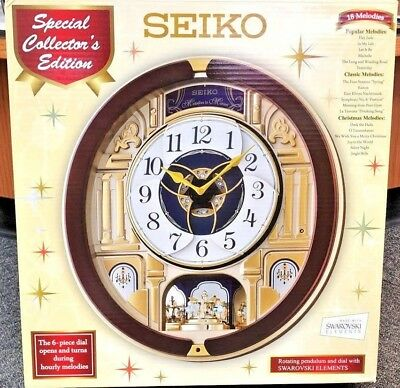 NEW Seiko Musical Melodies In Motion Clock SPECIAL EDITION Home Decor QXM541BR