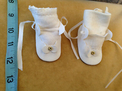 pair Vintage Doll shoes for Antique bisque doll BABY white with gold accent