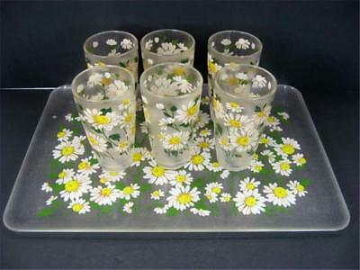 H J Stotter Flower Power Daisies 6 Tumblers and Tray Acrylic Plastic Lucite