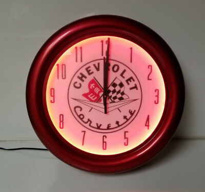 Neon Clock Chevrolet Corvette Red - Metal Clock with Glass Face