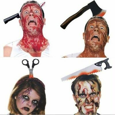 Funny Scary Toy Shapes Halloween Perform Props Axe Saw Nail Knife Headwear Fake