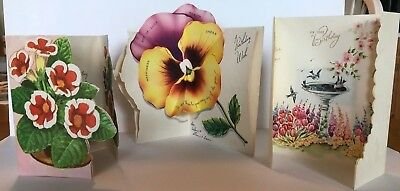3 USED Vintage Birthday Cards Florals. TRIFOLDS & FOLDOUTS. 1940s and 1950s
