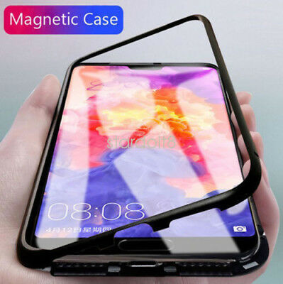 UK For Hauwei P20 P20 Pro Magnetic Snap-on Bumper Case Tempered Glass Cover