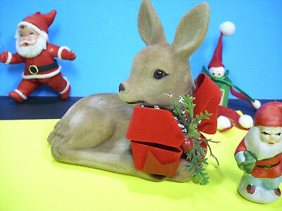 Vintage Xmas Decoration Lot Ornament Flocked felt deer nip elf
