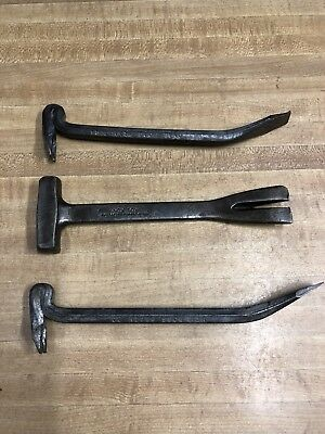 3 Old Vintage Crate Hammers, Pry Bars, Nox Tox, National New Ross