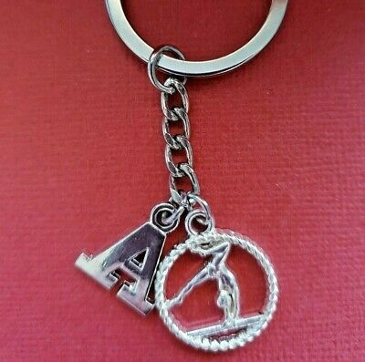 Gymnast Keyring Initial Letter A to Z Keychain Gymnastics personalised gift