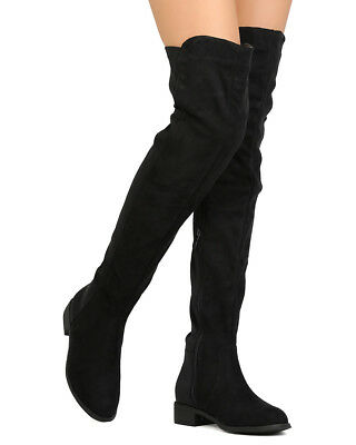 b2025ff8215 Women Thigh High Flat Pull on Low Block Heel Over The Knee Boots W  Side