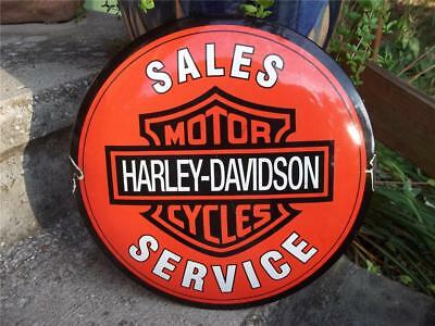 Porcelain Harley Davidson Sales Service Motor Cycles Sign Dealer Store Shop Sign