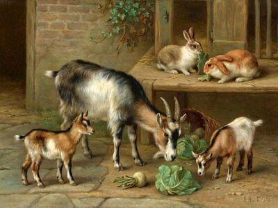 Living Room Wall Art Decor rabbits and goats Oil Painting Printed On Canvas