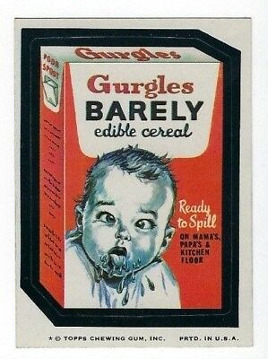 1974 Topps Wacky Packages 7th Series 7 GURGLES BARELY EDIBLE CEREAL ex+/nm- o/c