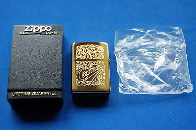 Zippo Unused Camel Windproof Cigarette Gold Color Lighter & Box & Papers.  B XII