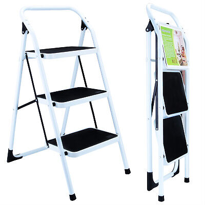 Portable 3 Step Ladder Nonslip Safety Folding Industrial Home Work Step Stool