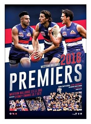 AFL Western Bulldogs Football Club 2016 Premiers Official Premiership poster