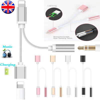 Lightning to aux audio 3.5mm Cable Adapter Headphone Jack Splitter Fr iPhone 8 X