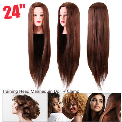 24'' Brown Hair Practice Hairdressing Training Head Mannequin Doll + Clamp