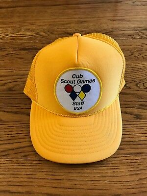 Vintage Yellow Boy Scouts Snapback Mesh Trucker Patch Hat Cub Scouts Games Staff