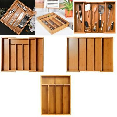 Kitchen Cutlery Organiser Drawer Storage Tray Wooden Bamboo Expandable Extending