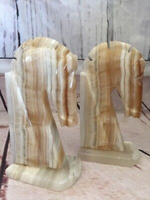 Vintage Horse Head Bookends Hand Carved Onyx Rock Marble Stone Book End Set