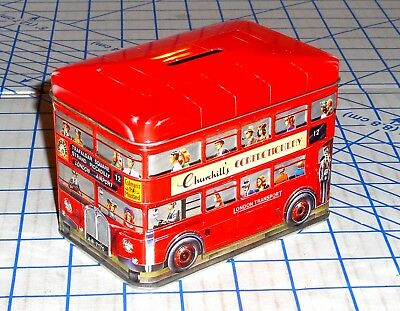Churchill's Confectionery Toffees Tin Litho Double Decker London Bus Bank VG