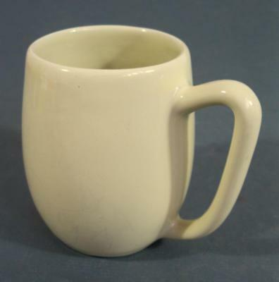 Vintage/retro 50s Fowler Ware lemon yellow pottery cofee mug -kitchenalia