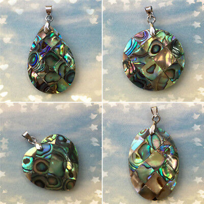 Natural Abalone Shell Pendant Charm Bead For Necklace Locket Jewelry Multi Shape