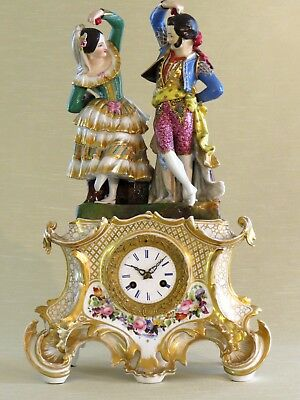 Antique French Porcelain Clocks with Dancers.