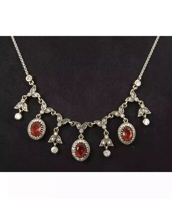 Pretty! Antique Vintage Sterling Silver Ruby and Topaz Necklace.