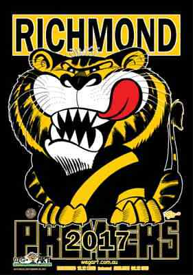2017 AFL BLACK Richmond Tigers WEG Weg Art Premiers Poster FREE POST