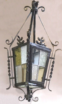 French Antique Wrought Iron & Stained Glass Porch Chandelier Lantern