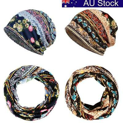 AU Women Stretch Turban Hat Cancer Chemo Baggy Beanie Head Scarf Wrap Hijab Cap