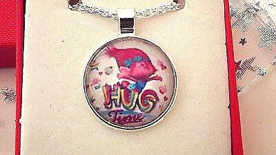 Trolls Poppy Pink Hug Time Silver Plate Necklace 22 Inch Gift Box Birthday Party