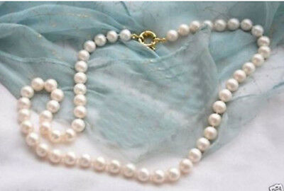 """fine 8-9mm Genuine Natural White Akoya Freshwater Pearl Necklace 25""""AA wholesale"""