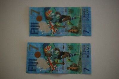 Two Fiji (Rugby 7's) Seven Dollar Notes