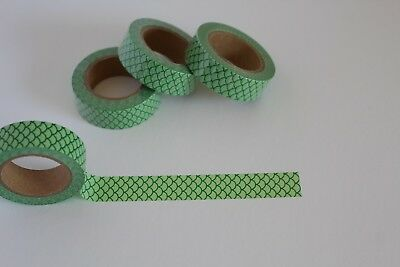 Mermaid  theme washi tape, Green scales, Cute Washi Tape, Planner accessories