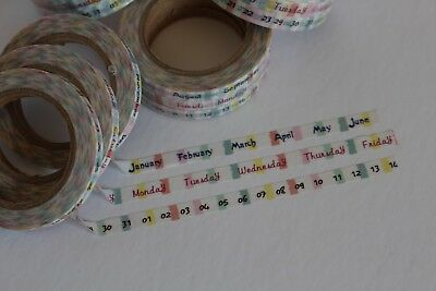 Month Day and Date washi tape, Skinny washi tape, Set of 3, Planner accessories
