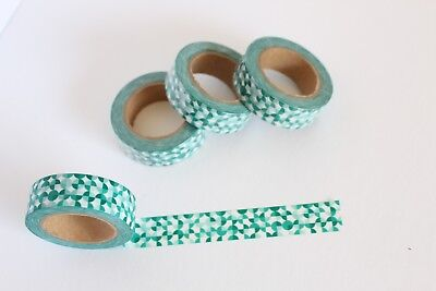 Green geometric print washi tape, Cute Washi Tape, Planner accessories