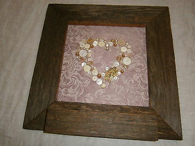 Craft Button Love Heart In Fence Paling Frame With Shelf - Many Vintage Buttons