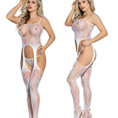 Womens Open Crotch Sexy Lingerie Fishnet Crotchless Bodystocking Bodysuit white