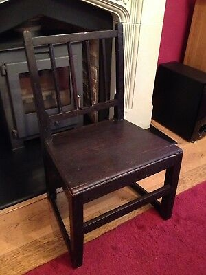 Antique Georgian Low Child's Chair Slat Back Old Nice Patina 18th Century