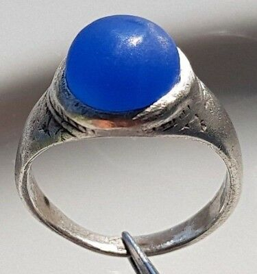 ROMAN SILVER RING with Marine Blue Agate Stone