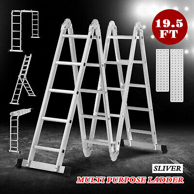 19.5FT Multi-Position Aluminium Telescoping Ladder Extension Folding Step Ladder
