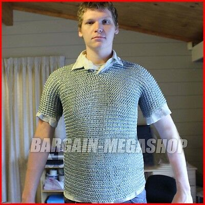 Medieval Aluminium Chainmail Shirt Butted Aluminum Chain Mail Haubergeon