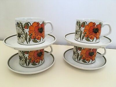 J & G MEAKIN POPPY 4  x CUPS AND SAUCERS